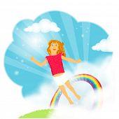 Menina bonita com cabelos longos, voando a partir da calha de grama um arco-íris no céu azul no ama