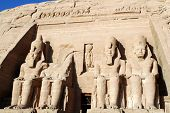 picture of ramses  - Front view of Temple of King Ramses II in Abu Simbel - JPG