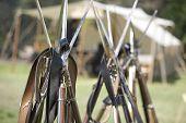 Civil War Re-Enactment - Guns Stacked
