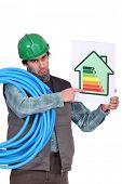 Signo de trabajadores indicando la energía
