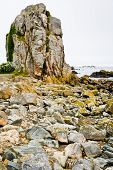 Old Granite Rock On Coast Of La Manche