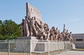 foto of zedong  - Revolutionary statues in front of Mausoleum of Mao Zedong at Tiananmen Square in Beijing China - JPG