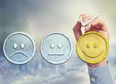 stock photo of emoticon  - Customer satisfaction survey on a sky background - JPG