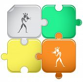 Ethnic little man with camera. Vector puzzle.