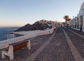 Street In Thira In The Morning. Santorini Island.