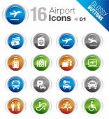 Glossy Buttons - Airport and Travel icons