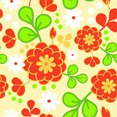 Orange kimono flowers seamless pattern background