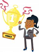 Ethnic Businesswoman Buddy Wins First Prize Trophy