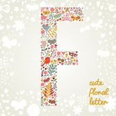 The letter F. Bright floral element of colorful alphabet made ??from birds, flowers, petals, hearts