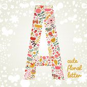 The letter A. Bright floral element of colorful alphabet made ??from birds, flowers, petals, hearts