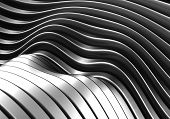 Abstract curve stripe metal background 3d illustration