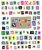 Vector Ransom Note #1- Cut Paper Letters, Numbers, Symbols