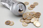 Poder de aluminio machacadas con monedas