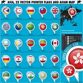 Asia Map and flags Pointer Icons set3