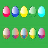 5 Easter Egg High Quality Glossy Button Icons