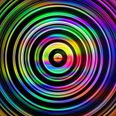 Multicolored circles on black.
