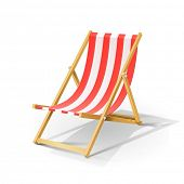 wooden beach chaise longue vector illustration isolated on white background EPS10. Transparent objec