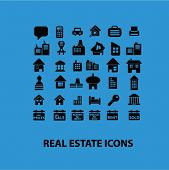 real estate concept, house, home building, business, architecture, apartment, rent icons, signs set, vector