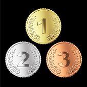 Juego de la medalla de oro plata y bronce