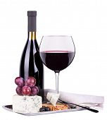 Red Wine Assortment Of Grapes And Cheese