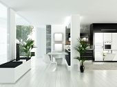 A 3d rendering of modern white luxury kitchen interior