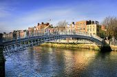 stock photo of pedestrian crossing  - The Half Penny Bridge  - JPG