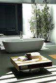 Modern industrial design bathroom with nice light ambience