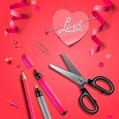 Set Of Happy Valentine's Day art craft objects