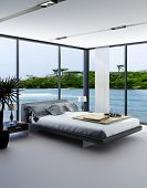 foto of master bedroom  - Ultramodern bedroom interior with grey bed against panorama windows with seascape view - JPG