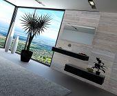 Hochmoderne Badezimmer Interieur mit Luxus-Möbel und Marmor-Wand und Panoramablick