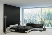 stock photo of master bedroom  - Ultramodern bedroom interior with double bed against panorama windows - JPG