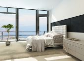 stock photo of master bedroom  - Contemporary modern sunny bedroom interior with huge windows - JPG