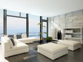 Modern living room with huge windows and concrete stone wall