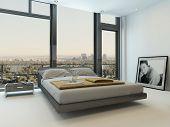 Modern bedroom interior with huge windows