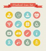 stock photo of bandage  - Flat Medical Infographics Elements plus Icon Set - JPG