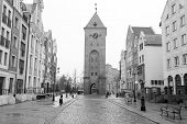 Old town of Elblag in black and white, Poland