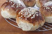 Freshly baked oatmeal molasses bread.