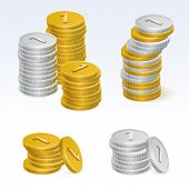 Gold and Silver Coins Stacks Vector Icons