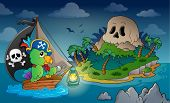 Theme with pirate skull island 1 - eps10 vector illustration.