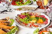 pic of collate  - Various meat slices on white plate  - JPG