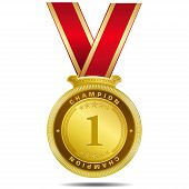 Champion Gold Medal Vector Design