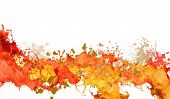 Background image with colorful splashes on white backdrop