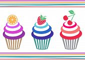 image of jimmy  - Vector illustration of three isolated colorful fruit cupcakes - JPG
