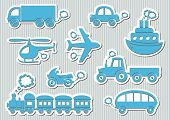 image of train-wheel  - Set of cute blue means of transport icons - JPG