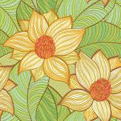 Seamless Hand Drawn Retro Pattern With Magnolia Flowers