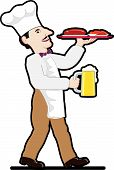 Chef with beer