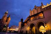 the city of krakow in poland. marketplace with (left to right) st. mary's cathedral, tuchlauben,