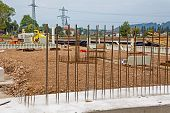 at a construction site are steel mesh for reinforcement of concrete slabs