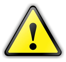 stock photo of warning-signs  - yellow triangular warning sign over white background - JPG