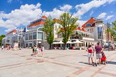 SOPOT, POLAND - 7 JUNE: Square at the Heroes of Monte Cassino Street in Sopot on 7 June 2014. Sopot